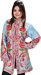 Angel-Blue Kashmiri Long Jacket with Ari Embroidered Flowers