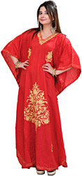 Mineral-Red Kashmiri Kaftan with Crewel Embroidered Flowers