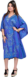 Imperial-Blue Kashmiri Short Kaftan with Needle Embroidered Paisleys by Hand
