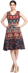 Turkish-Blue Summer Dress from Pilkhuwa with Printed Elephants and Flowers