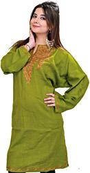 Foliage-Green Long Kashmiri Phiran with Ari Embroidery by Hand