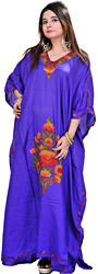 Brilliant-Blue Kashmiri Kaftan with Ari Embroidered Flowers by Hand