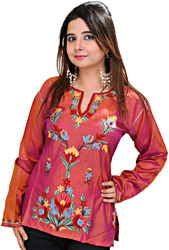 Kashmiri Kurti with Ari Hand-Embroidered Flowers