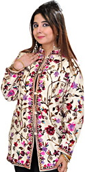 Winter-White Kashmiri Jacket with Ari Embroidered Flowers All-Over