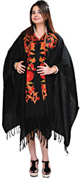Jet-Black Kashmiri Cape with Hand-Embroidered Flowers