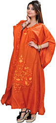 Poppy-Orange Kashmiri Kaftan with Ari Embroidered Flowers