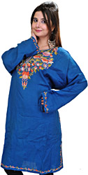 Dutch-Blue Long Kashmiri Phiran with Ari Hand-Embroidered Flowers on Neck