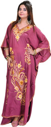 Meadow-Purple Kashmiri Kaftan with Ari Embroidered Flowers