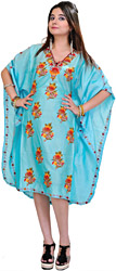 Radiance-Blue Kashmiri Short Kaftan with Ari Embroidered Flowers by Hand
