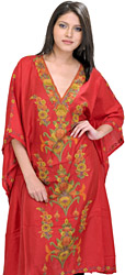Tango-Red Kashmiri Short Kaftan with Ari Embroidered Flowers by Hand