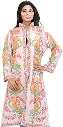 Blossom-Pink Long Kashmiri Jacket with Crewel Embroidered Flowers All-Over