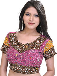 Raspberry-Pink Deep-Neck Choli from Rajasthan with Sequins and Beads