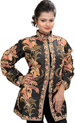 Jet-Black Short Kashmiri Jacket with Ari Embroidered Flowers All-Over