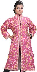 Prism-Pink Long Kashmiri Jacket with Crewel Embroidered Flowers