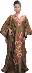 Copper Kashmiri Kaftan with Ari Embroidered Flowers