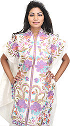 Bright-White Long Phulkari Kurti with Thread Embroidered Flowers