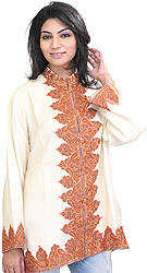 Winter-White Kashmiri Jacket with Hand Ari Embroidery on Border
