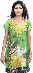 Forest-Green Digital Printed Kurti with Radha Krishna on Swing