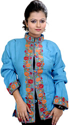 Sky-Blue Short Jacket from Kashmir with Crewel Embroidered Flowers on Border
