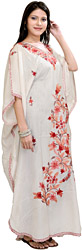 Bright-White Kashmiri Kaftan with Ari Embroidered Flowers