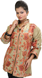 Prairie-Sand Kashmiri Jacket with Crewel Embroidered Tulips