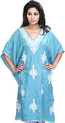 Scuba-Blue Kashmiri Short Kaftan with Crewel Embroidered Flowers