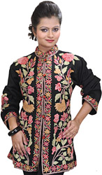 Jet-Black Jacket from Kashmir with Ari Embroidered Flowers by Hand