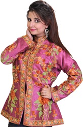 Radiant-Orchid Kashmiri Jacket with Ari Embroidered Flowers All-Over