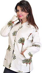 Bright White Jacket from Pilkhuwa with Printed Palm Trees and Straight Stitch