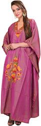 Raspberry-Radiance Kashmiri Kaftan with Ari Hand-Embroidered Flowers