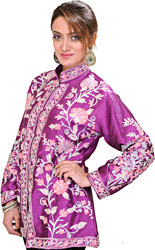 Bright-Violet Kashmiri Jacket with Ari Embroidered Flowers All-Over