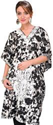 Black and White Batik-Dyed Kashmiri Short Kaftan with Ari Embroidered Paisleys and Waist Sash