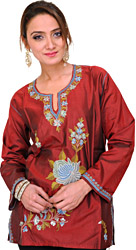 Ruby-Wine Kurti from Kashmir with Ari Hand-Embroidered Flowers