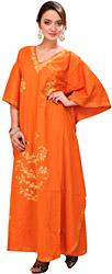 Burnt-Orange Kashmiri Kaftan with Ari Embroidery