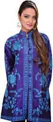 Prism-Violet Kashmiri Jacket with Ari Embroidered Flowers