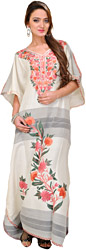 White Kashmiri Kaftan with Ari Embroidered Flowers and Woven Stripes
