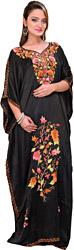 Jet-Black Kashmiri Kaftan with Ari Embroidery