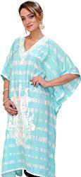 Aruba-Blue Batik Dyed Short Kaftan from Kashmir with Ari Embroidered Paisleys and Waist Sash