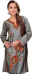 Kashmiri Kurti with Ari Embroidered Flowers by Hand