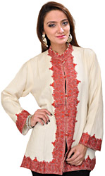 Off-White Short Jacket from Kashmir with Crewel Hand-Embroidered Flowers on Border