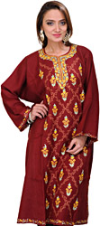 Cordovan-Red Kashmiri Phiran with Embroidered Flowers and Paisleys