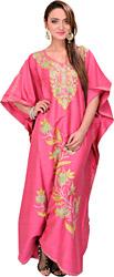 Flambe-Pink Kashmiri Kaftan with Ari Embroidered Flowers