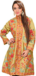 Mehandi-Green Kashmiri Long Jacket with Ari Embroidered Flowers All-Over
