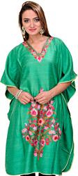 Ming-Green Kashmiri Short Kaftan with Ari Embroidered Flowers