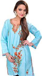 Angel-Blue Kashmiri Kurti with Ari Embroidered Flowers