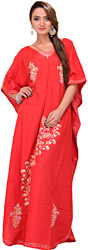 Tomato-Red Kaftan from Kashmir with Ari Embroidered Paisleys