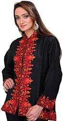 Caviar-Black Short Kashmiri Jacket with Ari Hand-Embroidery on Border