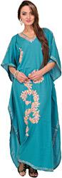 Harbor-Blue Kashmiri Kaftan with Ari Embroidered Paisleys