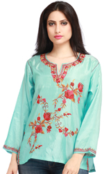 Turquoise Short Kashmiri Kurti with Embroidered Flowers by Hand