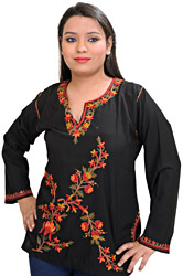 Black Short Kashmiri Kurti with Embroidered Flowers by Hand
